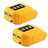 Weistar 12V/20V Max USB Power Source for Dewalt DCB090 Converters for Lithium Battery 2Packs