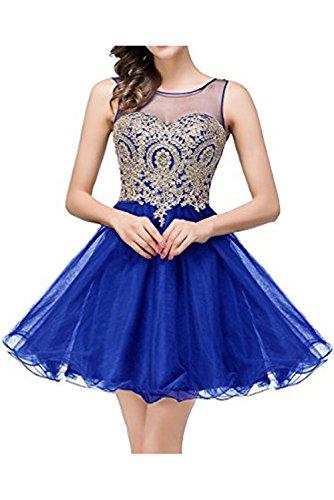 Damen Ivydressing Rueckenfrei Strass Partykleid zaertlich mini Cocktailkleid aermellos Royalblau Linie A Tuell Herzform Heimkehrkleid 1 kurz BFUdRFx