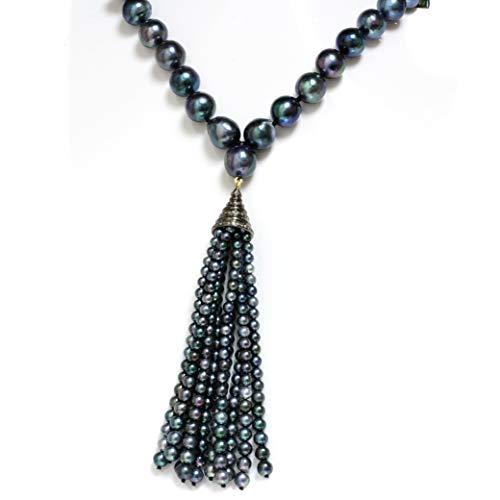 Cultured Akoya Pearl and Diamond Silver Tassel 10-9 MM Peacock Opera Length 34