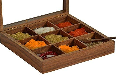 Stylla London Wooden Masala Dabba Indian Spice Box with Glass Lid on Top /& Spoon Sheesham Rosewood VS1146