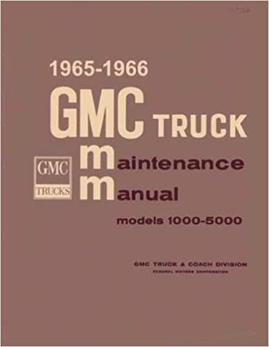 1965 & 1966 GMC TRUCK & PICKUP REPAIR SHOP & MAINTENANCE MANUAL INCLUDES; Suburbans, stakes, stepvans, medium duty, 1000, 1500, 2500, 3000, 3500, 4000, 5000, And Letter series