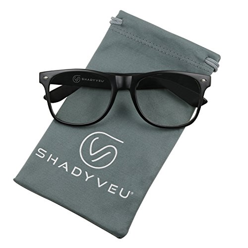 ShadyVEU - Non Prescription Vintage Clear Lens Nerd Geek Original Horn Rimmed Glasses (Matte Black Frame, 145) -