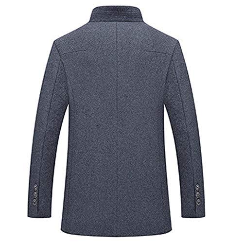 Men's Collar Coat Medium Jacket Breasted Stand Single Long Black Long Trenchcoats Overcoat Business Outerwear Windproof Sleeve Woolen UUwSrFq5T