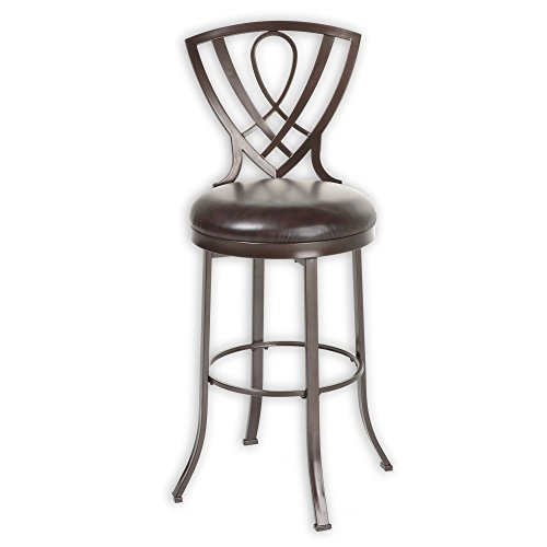 Fashion Bed Group Lincoln Metal Counter Stool with Chocolate Upholstered Swivel-Seat and Brown Crystal Frame Finish, (Upholstered Metal Swivel Bar)