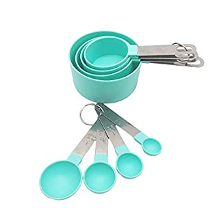 8 Piece Measuring Cups and Spoons Set with Stainless Steel Holder and Hook, Engraved Volumes, for Kitchen Dry and Liquid Ingredients