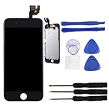 XIAOYI LCD Display for iPhone 6 Replacement Touch Screen Digitizer Assembly+Front Camera+Earspeaker 4.7Inch Black White (Black)