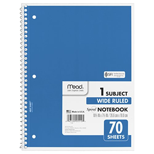 Mead Spiral Notebook, 1-Subject, 70-Count, Wide Ruled, Light Blue (05510)