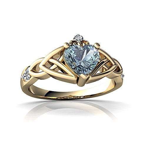 14kt Yellow Gold Aquamarine and Diamond 6mm Heart Claddagh Trinity Knot Ring - Size 6.5 (Diamond Trinity Ring 14kt Knot)