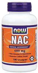NAC N-acetyl Cysteine 600 Mg, Selenium, Molybdenum Now Foods 100 Caps (1)