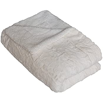 """SLPR Faux Fur Throw Blanket with White Fleece/Sherpa (50"""" x 60"""", Ivory) 