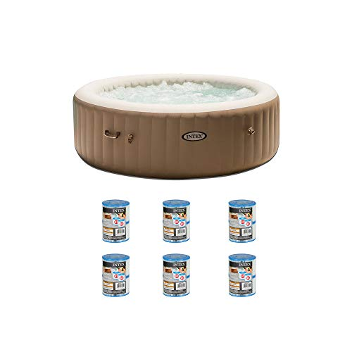 Intex Inflatable Pure Spa 6-Person Portable Heated Bubble Jet Hot Tub | 28407EIntex PureSpa Type S1 Easy Set Pool Filter Replacement Cartridges (2 Filters) (6 Pack) (What's The Best Inflatable Hot Tub)