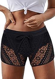 Zonsaoja Women's Swim Shorts Waistband Swimsuit Bottom Board Shorts Swimwear Quick Dry Swim