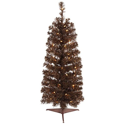 VCO 11319529 Pre-Lit Sparkling Chocolate Brown Artificial Christmas Tree with Clear Lights, 3'