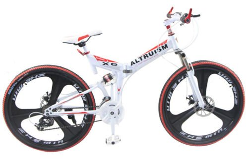 Hot Sales Altruism X6 Aluminum Alloy Mountain Bike 24 Speed 26 Inch Folding Bicycle White