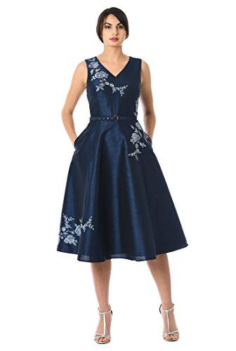 Embellished Drop Waist Dress - eShakti FX Floral Embellished Dupioni Belt Dress Navy/Light Blue/Gray