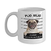 Pug Mug - Too Cute In Public - Unique Coffee Cup/Mug for the Pug Dog Lover. Funny novelty Mugs make great gifts-White