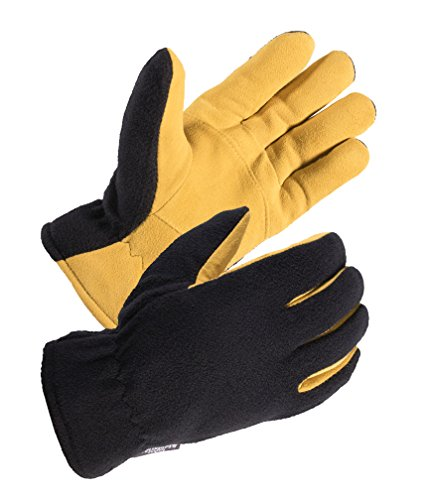 SKYDEERE Mens Winter Sport Gloves - Premium Genuine Soft Deerskin Suede Leather and Polar Fleece Gloves, with 3M Thinsulate Insulation Suitable for Outdoor Sport and Keep Warm in Cold Weather (yellow)