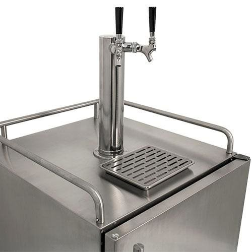 EdgeStar KC7000SSODTWIN Full Size Tower Cooled Dual Tap Built-In Outdoor Kegerator - Stainless Steel