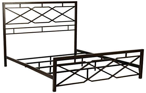 Leggett & Platt Alpine Metal SNAP Bed with Folding Frame Bedding Support System and Geometric Panel Design, Rustic Pewter Finish, King