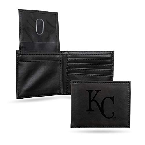 Royals Mlb Leather - Kansas City Royals MLB Laser Engraved Black Synthetic Leather Billfold Wallet