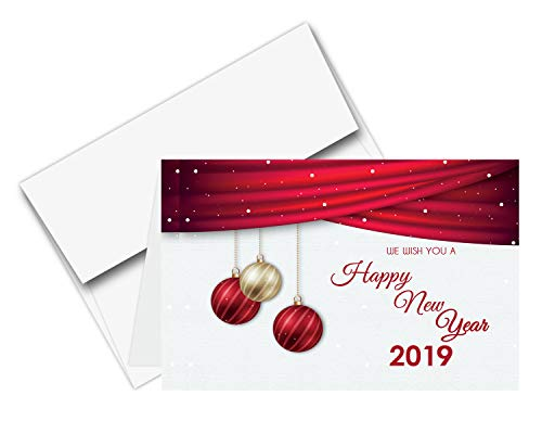 "2019 Happy New Year – Red Holiday Greetings Fold Over Cards & Envelopes, 25 Cards and 25 Envelopes per Pack | 5"" x 7"" Inches When Folded"