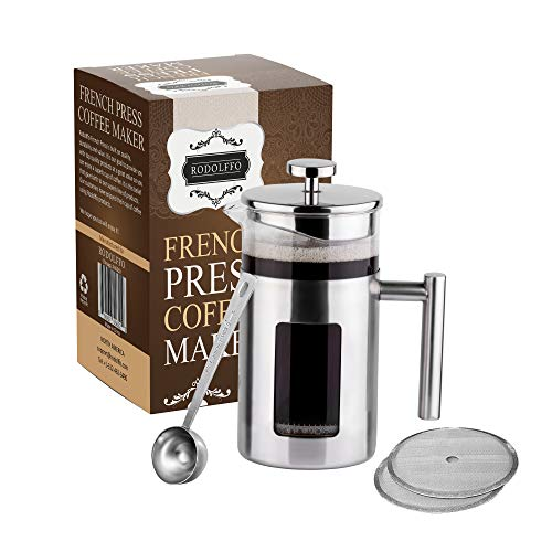 Rodolffo Quality French Press Coffee Maker 34 Ounce with Stainless Steel 18/8 incudes Borosilicate Glass Cup & Stainless…