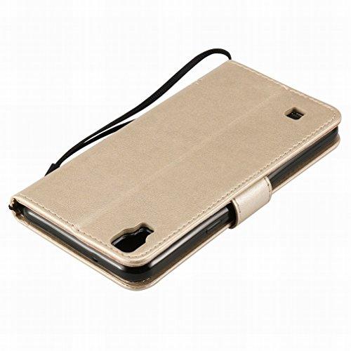 Custodia LG X Power / K220DS / K220 Cover Case, Ougger Alberi Gatto Printing Portafoglio PU Pelle Magnetico Stand Morbido Silicone Flip Bumper Protettivo Gomma Shell Borsa Custodie con Slot per Schede