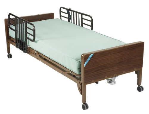 (Drive Medical Delta Ultra Light Full Electric Bed with Half Rails & Therapeutic Support Mattress)