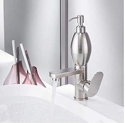 LONGCHL Grifos para lavabo Grifo para lavabo de acero inoxidable 304 con dispensador de jabón Grifo