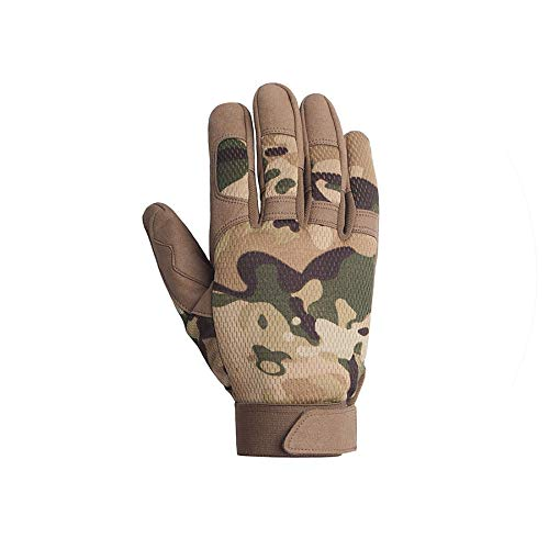 (Motocycel Shooting Paintball Work Gear Camo Full Finger Gloves,Multicam,L)