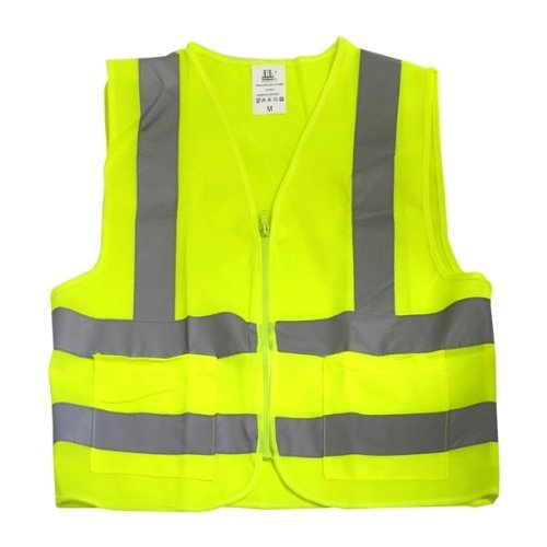 Neiko High Visibility Neon Yellow Zipper Front Safety Vest with 2 Side Pockets, ASIN/ISEA Standard - Size Medium Model: Automotive