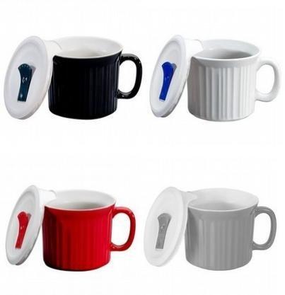 Corningware 20 ounce Pop-Ins Mug Set with Vented Plastic Lids, Set of 4 Contemporary Colors