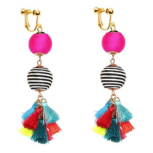 Thread Ball Dangle Clip on Earrings Bohemian Statement Thread Tassel Earrings for Women Dangling Fringe