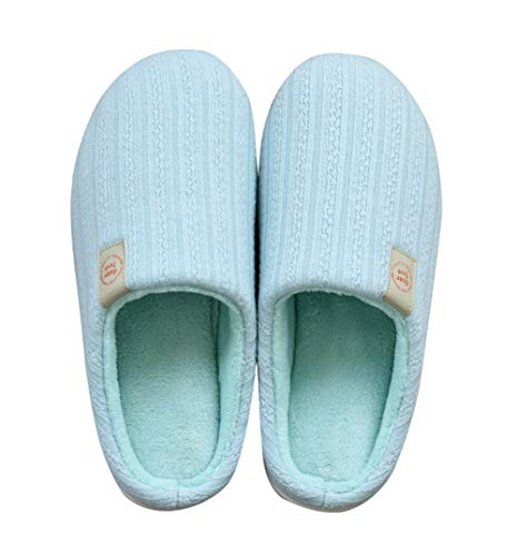 Anti Fuzzy Slip Women Blue for House Slippers AGOWOO Foam Memory PdBqBwg