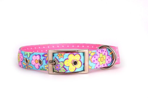 Yellow Dog Design Uptown Collar, Small, Flower Power on Pink Polka, Small Dots