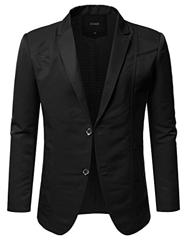 - IDARBI Mens Slim Fit Casual Buttoned Blazer Suit Jacket Black L