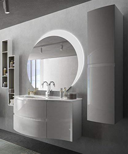 Mobile bagno sospeso moderno Vague bianco lucido, misura cm 104, con ...