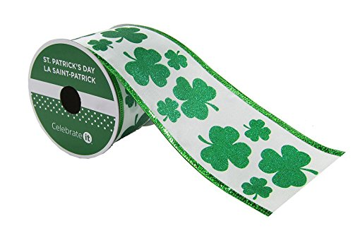 St. Patrick's Day Taffeta Wired Shamrock Ribbon with Wired Edge 2.5