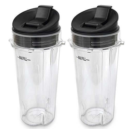 ELEFOCUS Replacement Parts for Nutri Ninja Blender, 2 Pack 16-ounce Single Serve Cup and Sip N Seal Lid Fit for Ultima & Professional for Ninja Series BL770 BL780 BL660 All Pro 4 Tab Blenders