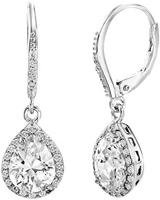 18K White Gold Over Sterling Silver Cubic Zirconia Dangling 4 Prong Teardrop Halo Earring