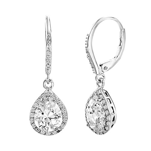 [18K White Gold Over Sterling Silver Cubic Zirconia Dangling 4 Prong Teardrop Halo Earring] (Red Skull Costume Uk)