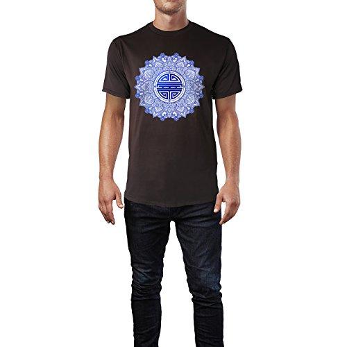 SINUS ART® Chinesisches Symbol für Gesundheit & Glück Herren T-Shirts in Schokolade braun Fun Shirt mit tollen Aufdruck