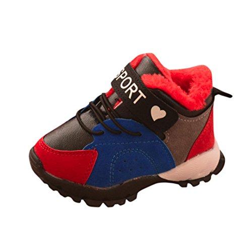 Baby Mädchen Jungen Kinder Sport Turnschuhe Upxiang Plus Flusen Warme Schuhe Kinder Neugeborenen Schalt Winter Warme Sportschuhe Stiefel(9M-3T) Blau