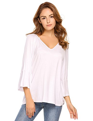 Zeagoo Women's Deep V Neck T Shirts Basic Solid Loose Fit Tunic 3/4 Sleeve Shirt, White, ()