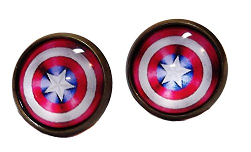 Stud Shield (Marvel Comics CAPTAIN AMERICA Shield Glass Domed Stud EARRINGS)