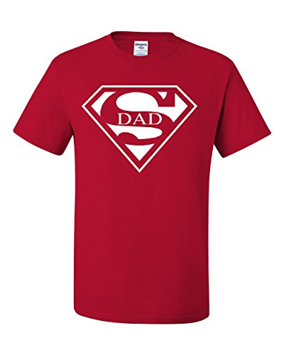 Super Dad T-Shirt Funny Superhero Father's Day Tee Shirt Red L