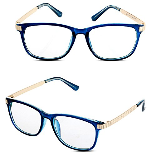 Doober Men Women Vintage Eyeglass Frame Glasses Spectacle Clear Lens Optical Eyewear (Blue, 6.6)