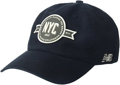 New Balance NYCM 6 Panel Curved Brim Patch Cap, Black, One Size