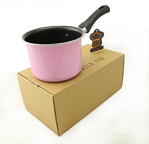 LI-GELISI Mini Chocolate Milk Pan Hard Anodized Non-Stick Coating Carbon Steel Pan 4.5 inch Butter Sugar Melting Pot (Pink)