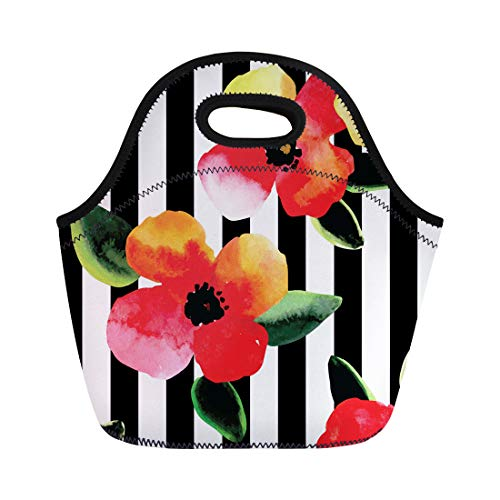 Semtomn Lunch Bags Floral Bright Watercolor Flowers and Leaves Pattern Black White Neoprene Lunch Bag Lunchbox Tote Bag Portable Picnic Bag Cooler Bag